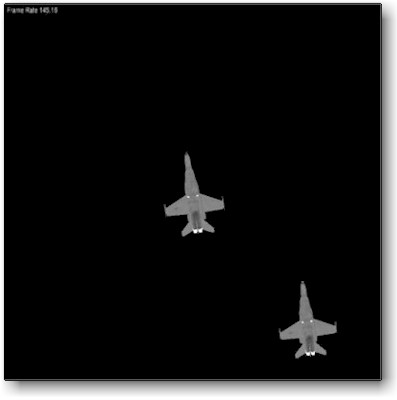 Chimaera output for a closing sequence on two F18 aircraft (plumes not modeled).